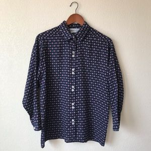 Vintage Printed Long Sleeve Collared Button Down